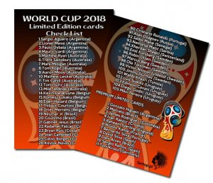 Lista kart Limited Edition  - World Cup 2018