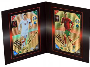 2 karty NORDIC Ronaldo Lewandowski Game Changer + RAMKA - KICK OFF 2021 EURO