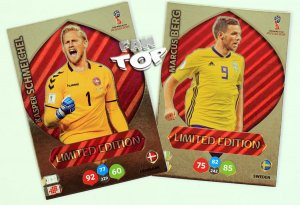 2 karty Limited Edition  BERG + SCHMEICHEL - WORLD CUP Russia 2018