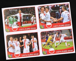 4 naklejki POSTER - POLSKA - EURO 2016 stickers collection